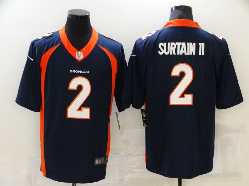 Nike Broncos 2 Patrick Surtain II Navy 2021 Draft Vapor Limited Jersey