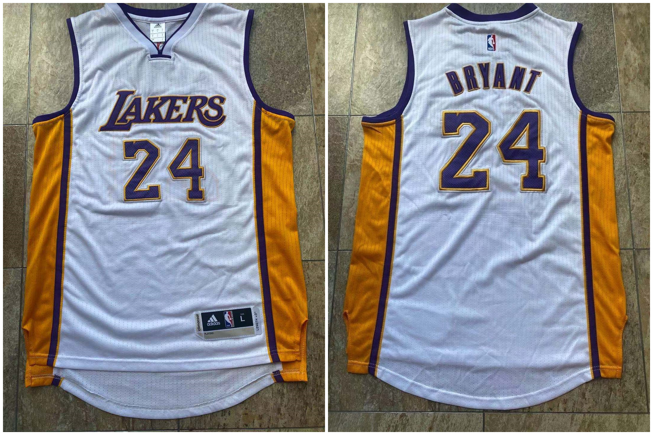 Lakers 24 Kobe Bryant White Adidas Swingman Jersey
