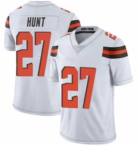 Nike Browns 27 Kareem Hunt White Vapor Untouchable Limited Jersey