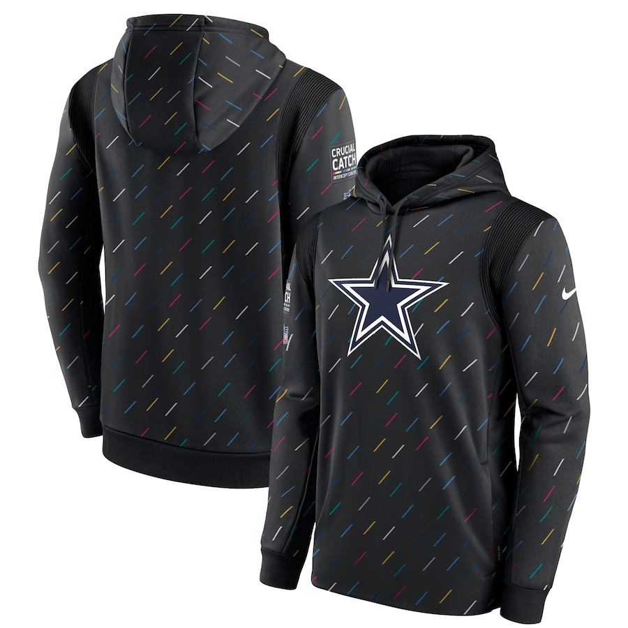 Men's Dallas Cowboys Nike Charcoal 2021 NFL Crucial Catch Therma Pullover Hoodie