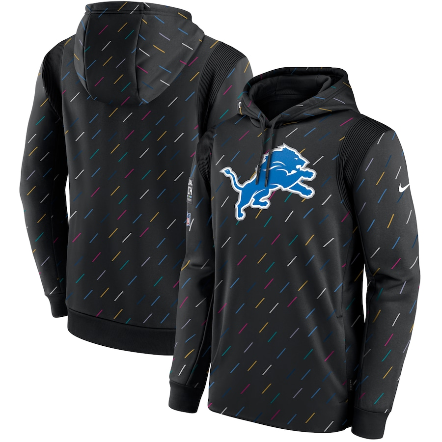 Men's Detroit Lions Nike Charcoal 2021 NFL Crucial Catch Therma Pullover Hoodie