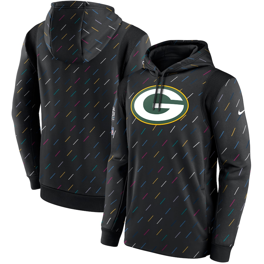Men's Green Bay Packers Nike Charcoal 2021 NFL Crucial Catch Therma Pullover Hoodie