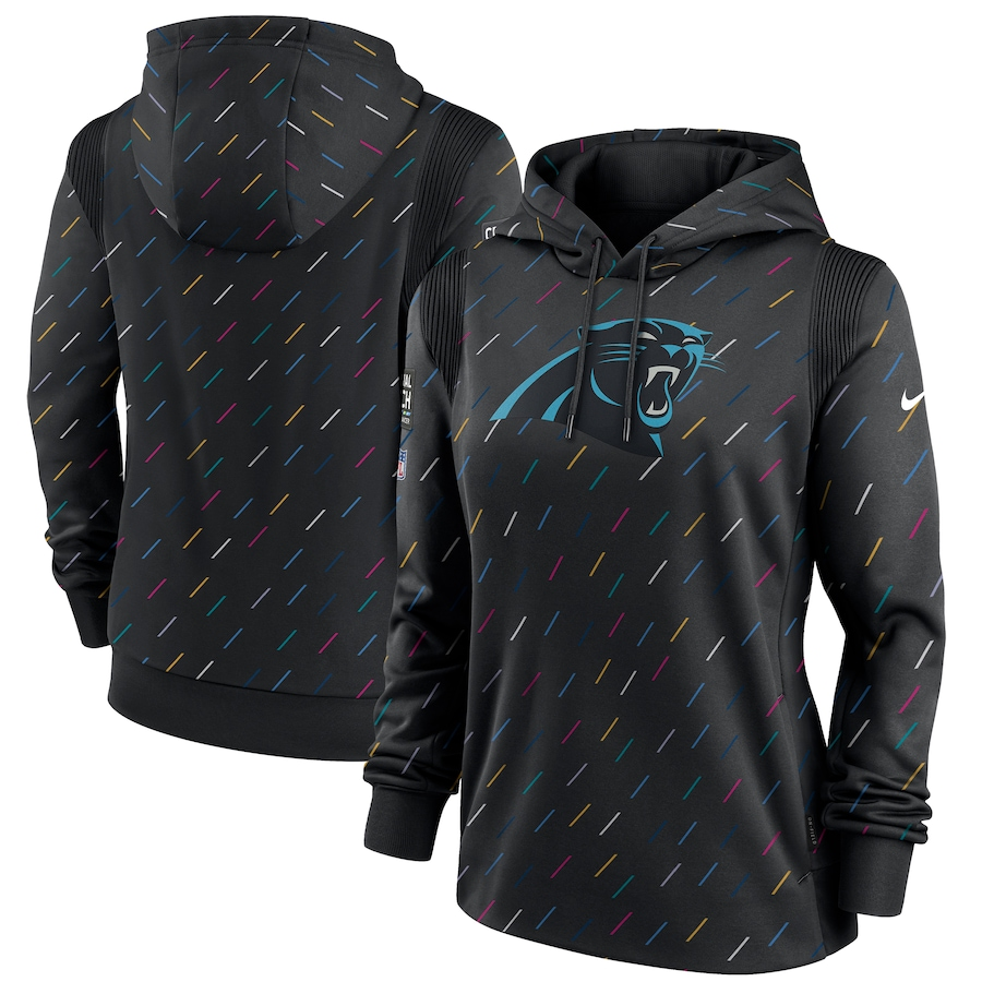 Women's Carolina Panthers Nike Anthracite 2021 NFL Crucial Catch Therma Pullover Hoodie