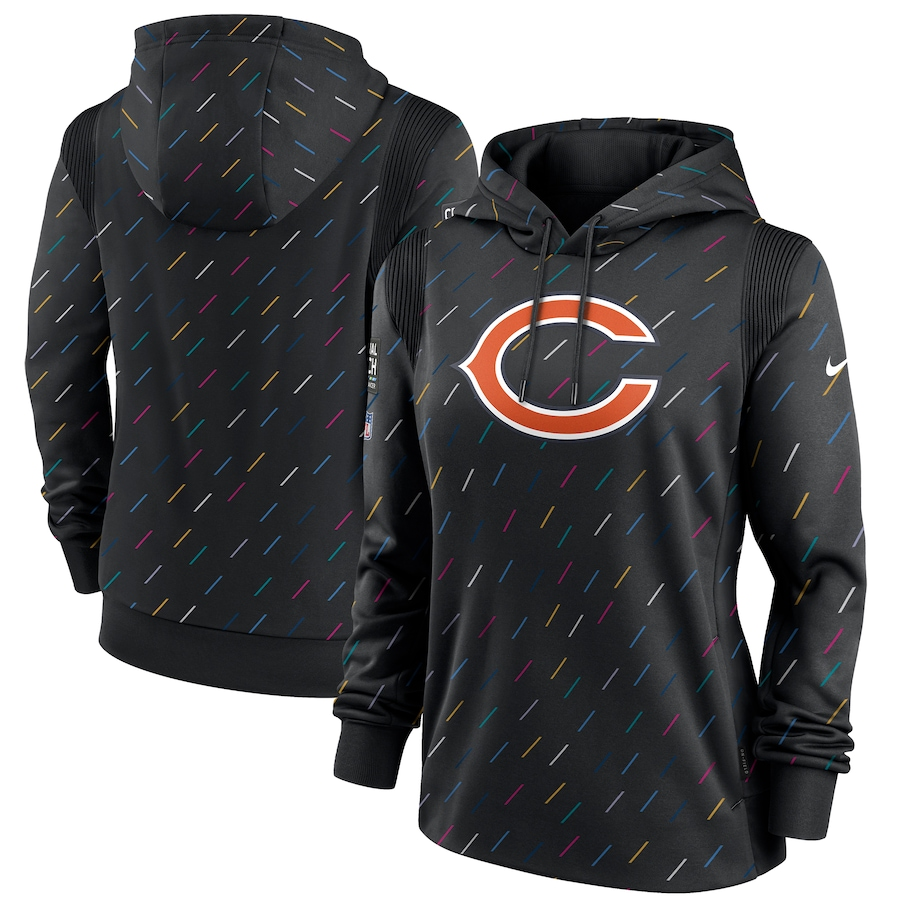 Women's Chicago Bears Nike Anthracite 2021 NFL Crucial Catch Therma Pullover Hoodie