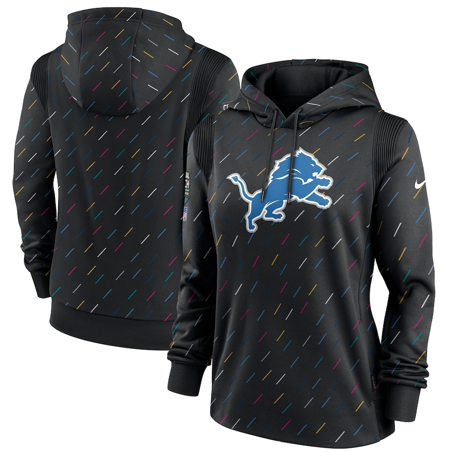 Women's Detroit Lions Nike Anthracite 2021 NFL Crucial Catch Therma Pullover Hoodie