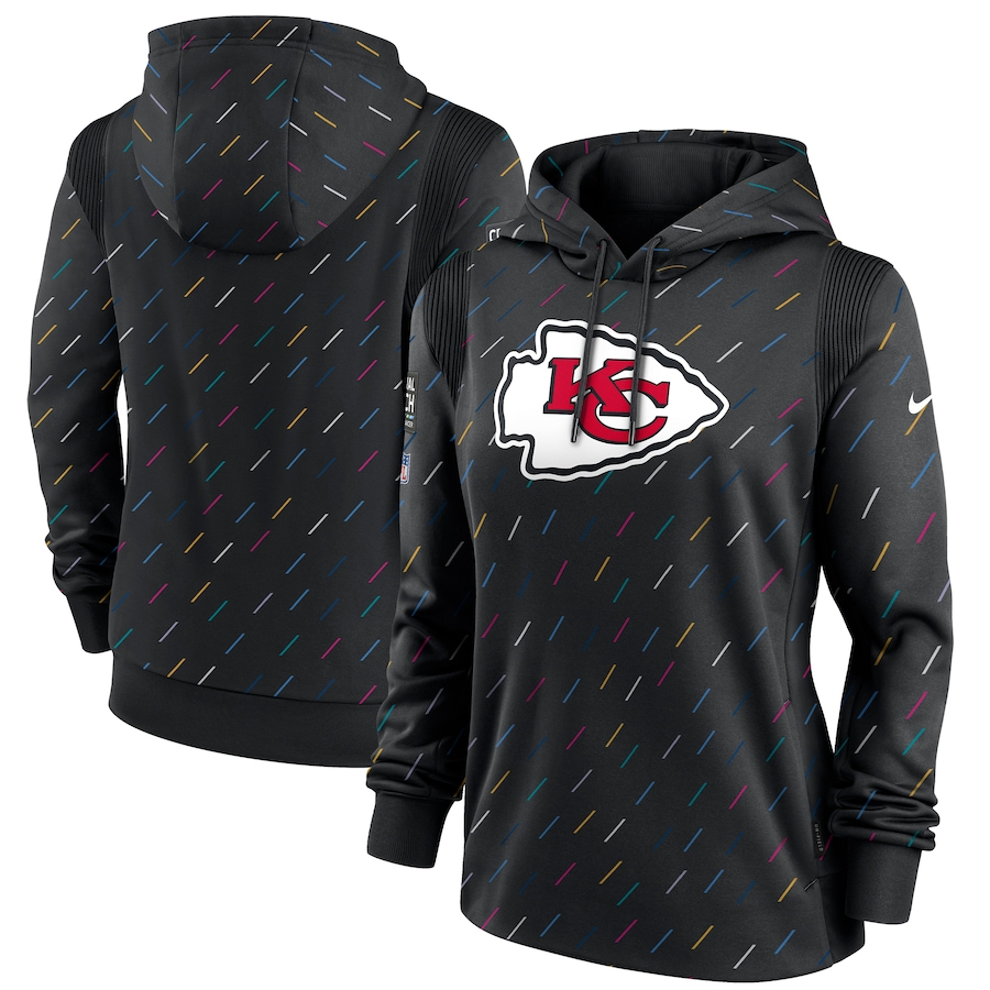 Women's Kansas City Chiefs Nike Anthracite 2021 NFL Crucial Catch Therma Pullover Hoodie