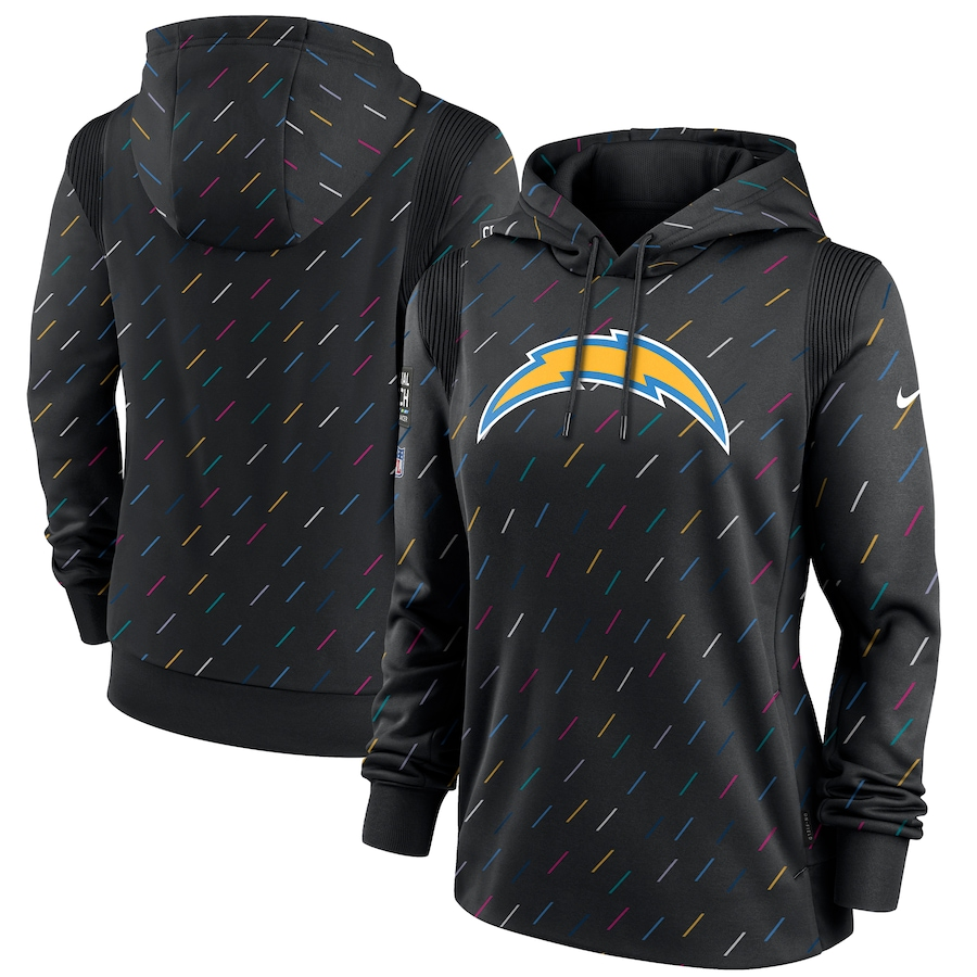 Women's Los Angeles Chargers Nike Anthracite 2021 NFL Crucial Catch Therma Pullover Hoodie