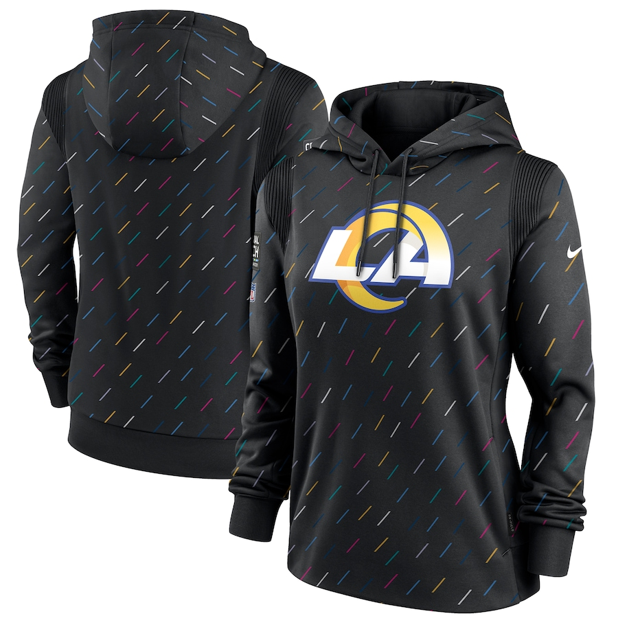 Women's Los Angeles Rams Nike Anthracite 2021 NFL Crucial Catch Therma Pullover Hoodie