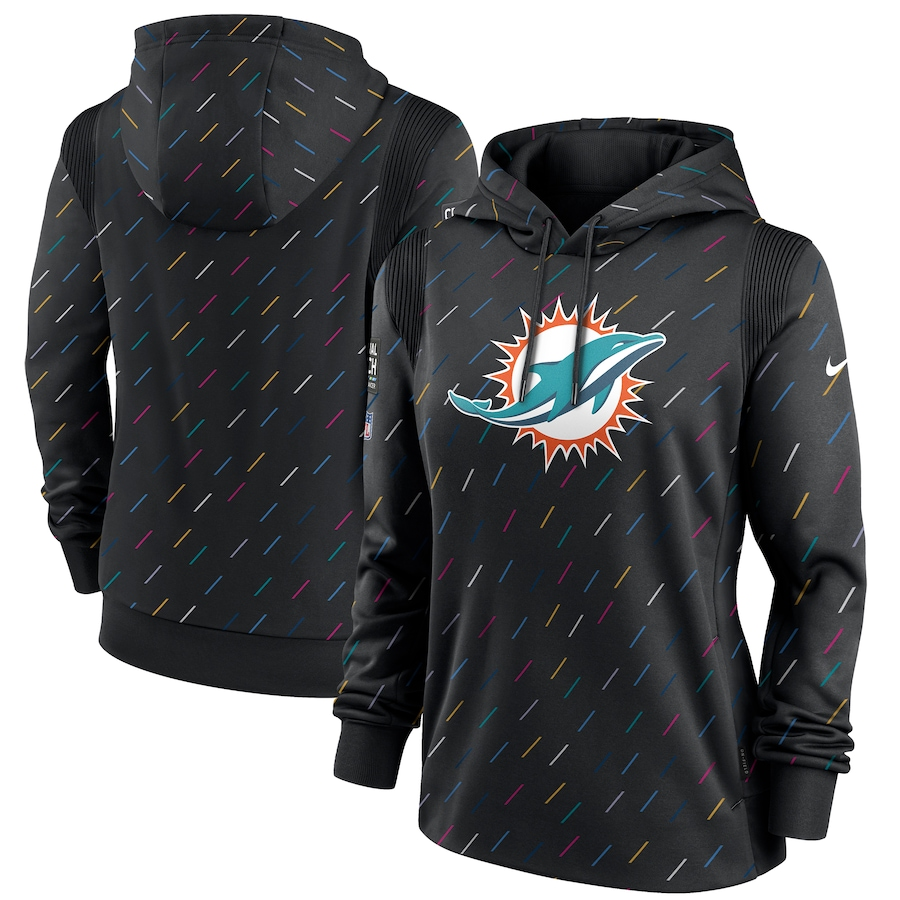 Women's Miami Dolphins Nike Anthracite 2021 NFL Crucial Catch Therma Pullover Hoodie