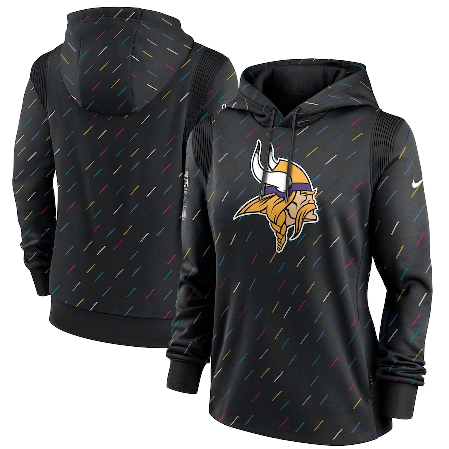 Women's Minnesota Vikings Nike Anthracite 2021 NFL Crucial Catch Therma Pullover Hoodie