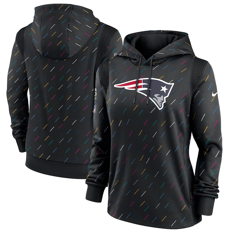 Women's New England Patriots Nike Anthracite 2021 NFL Crucial Catch Therma Pullover Hoodie