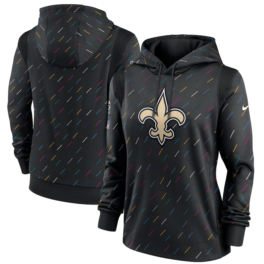 Women's New Orleans Saints Nike Anthracite 2021 NFL Crucial Catch Therma Pullover Hoodie