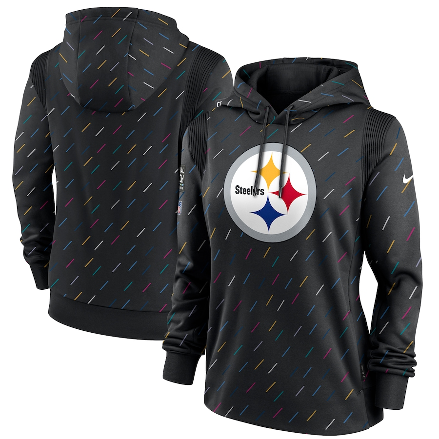 Women's Pittsburgh Steelers Nike Anthracite 2021 NFL Crucial Catch Therma Pullover Hoodie