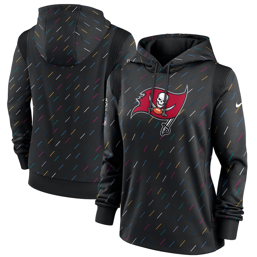 Women's Tampa Bay Buccaneers Nike Anthracite 2021 NFL Crucial Catch Therma Pullover Hoodie