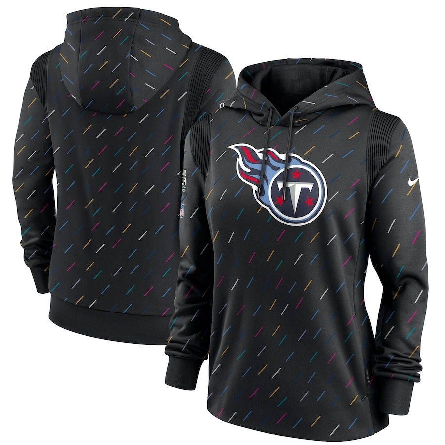 Women's Tennessee Titans Nike Anthracite 2021 NFL Crucial Catch Therma Pullover Hoodie