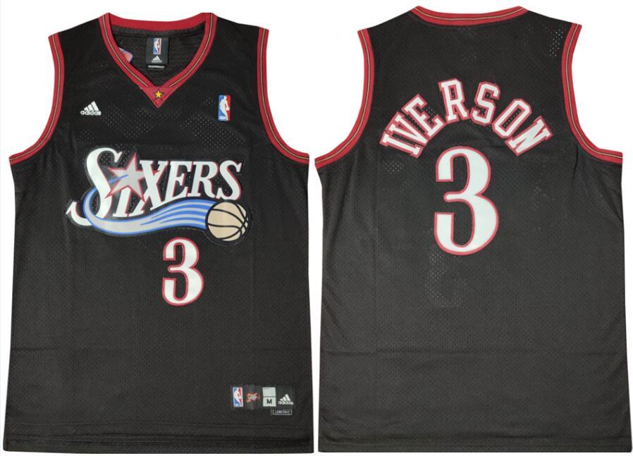 76ers 3 Allen Iverson Black Swingman Mesh Jersey