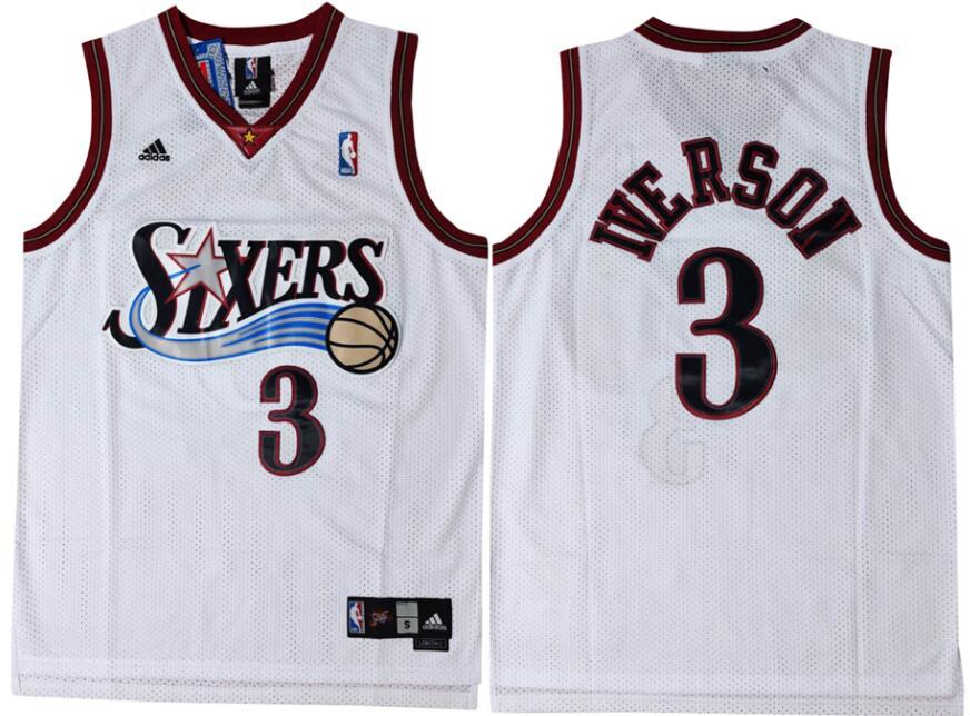 76ers 3 Allen Iverson White Swingman Mesh Jersey