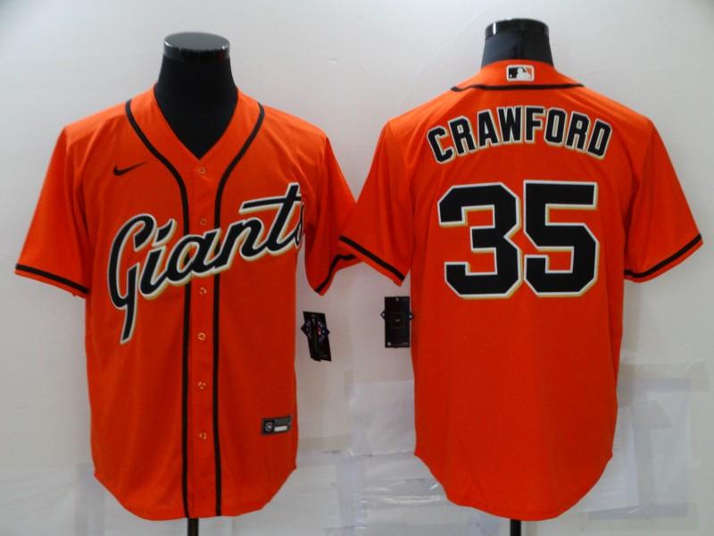 Giants 35 Brandon Crawford Orange Nike Cool Base Jersey