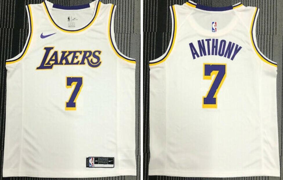 Lakers 7 Carmelo Anthony White Nike Swingman Jersey