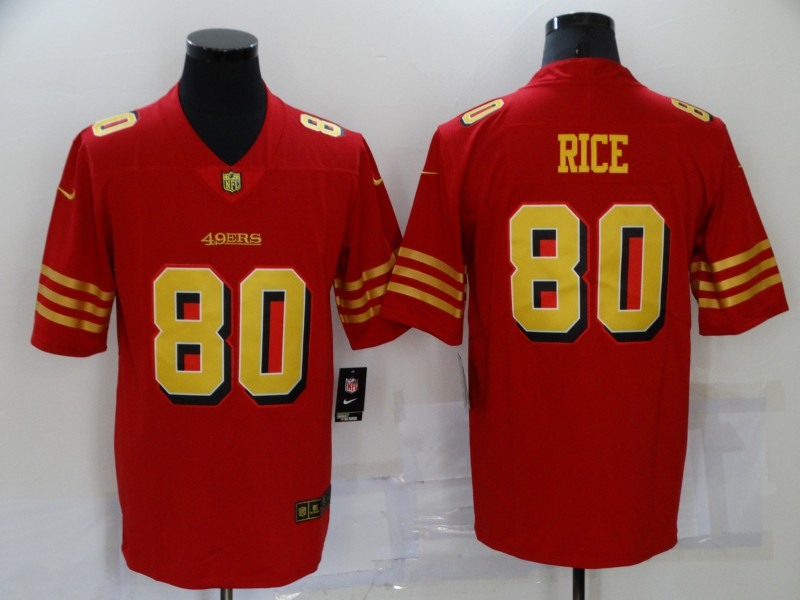 Nike 49ers 80 Jerry Rice Red Gold Color Rush Vapor Untouchable Limited Jersey