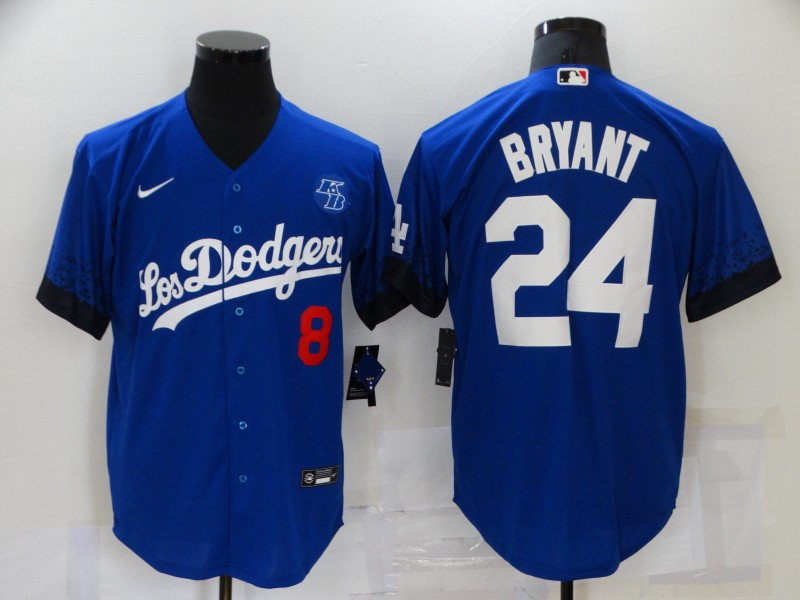 Dodgers 8 & 24 Kobe Bryant Royal 2021 City Connect Cool Base Jersey