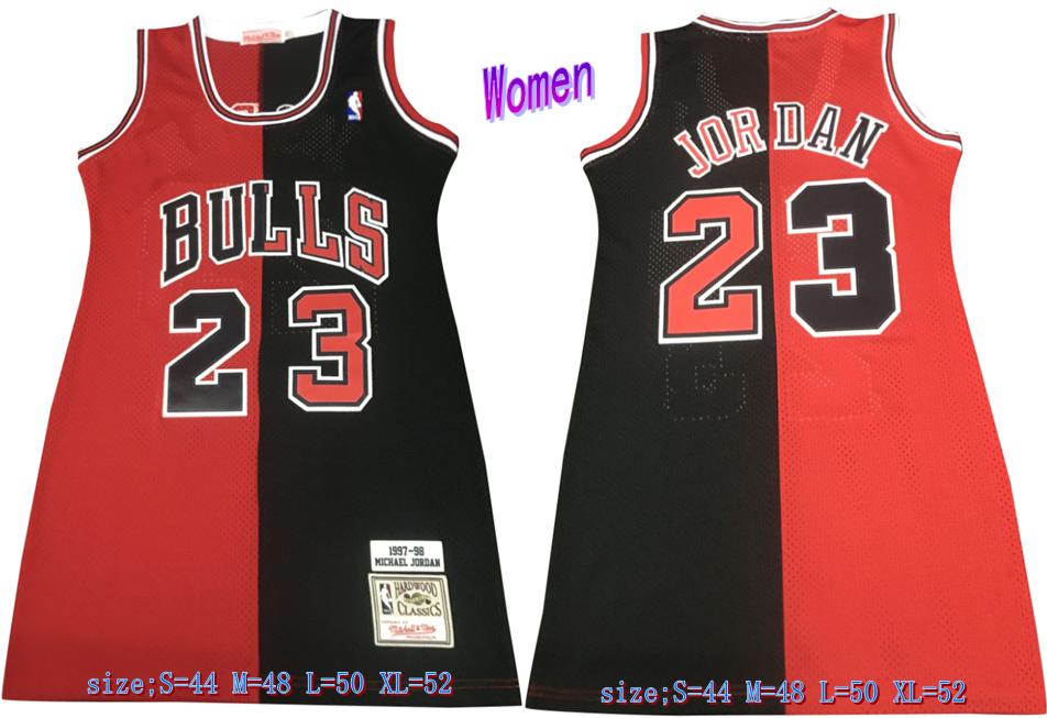 Bulls 23 Michael Jordan Split Black Red Women 1997-98 Hardwood Classics Mesh Jersey