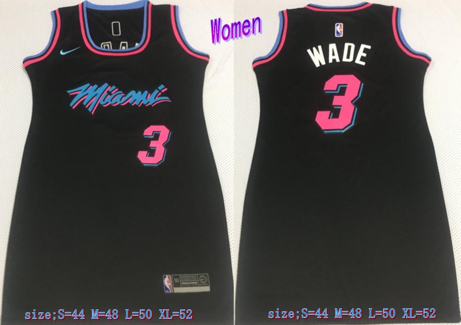 Heat 3 Dwyane Wade Black Women Nike Swingman Jersey