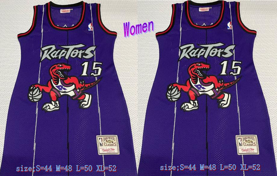 Raptors 15 Vince Carter Purple Women Hardwood Classics Mesh Jersey