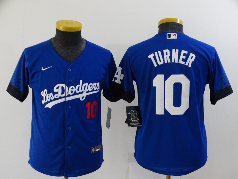 Dodgers 10 Justin Turner Royal Youth 2021 City Connect Flexbase Jersey