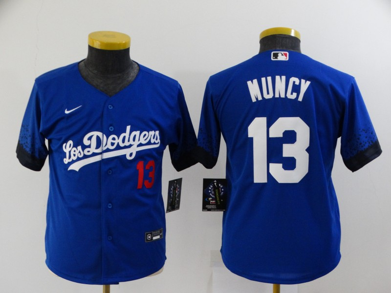 Dodgers 13 Max Muncy Royal Youth 2021 City Connect Cool Base Jersey