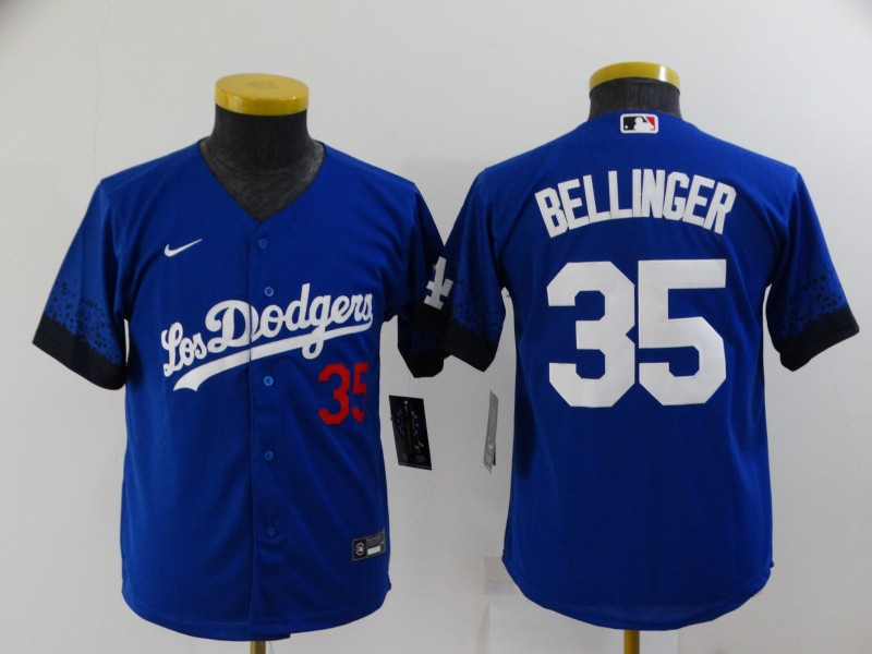 Dodgers 35 Cody Bellinger Royal Youth 2021 City Connect Cool Base Jersey