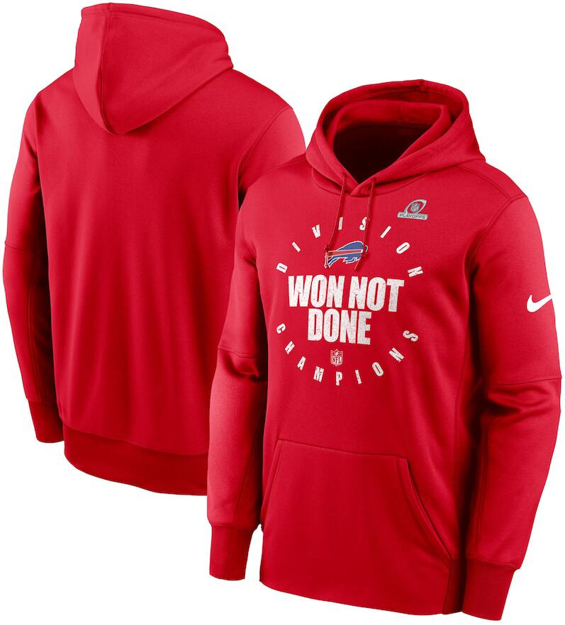 Men's Buffalo Bills Nike Red 2020 AFC East Division Champions Trophy Collection Pullover Hoodie
