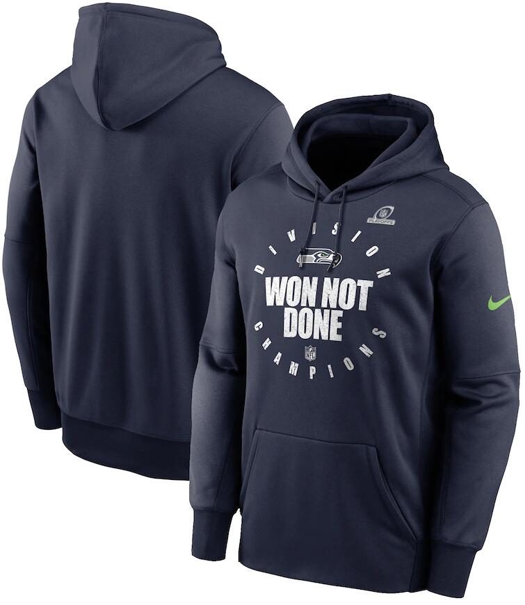 Men's Seattle Seahawks Nike College Navy 2020 NFC West Division Champions Trophy Collection Pullover Hoodie