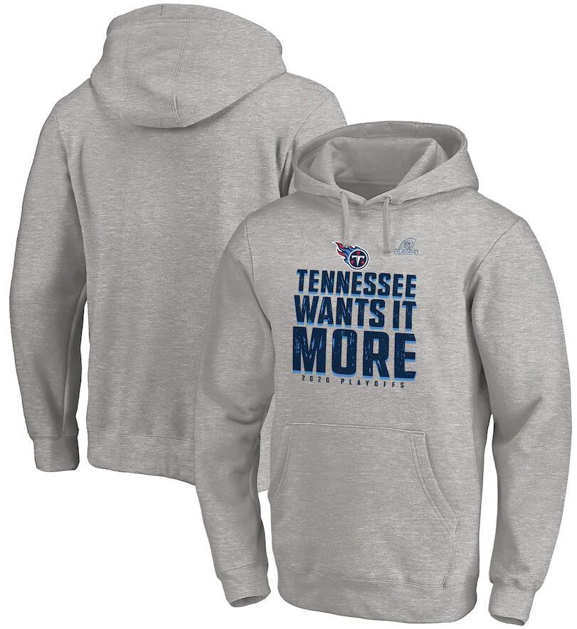 Men's Tennessee Titans Fanatics Branded Heather Gray 2020 NFL Playoffs Bound Shift Pullover Hoodie