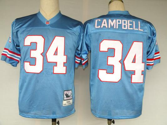 Oilers 34 Earl Campbell Blue Throwback Jersey