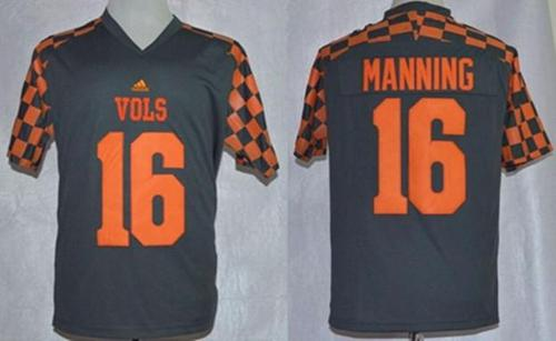 Tennessee Volunteers 16 Peyton Manning Grey College Jersey