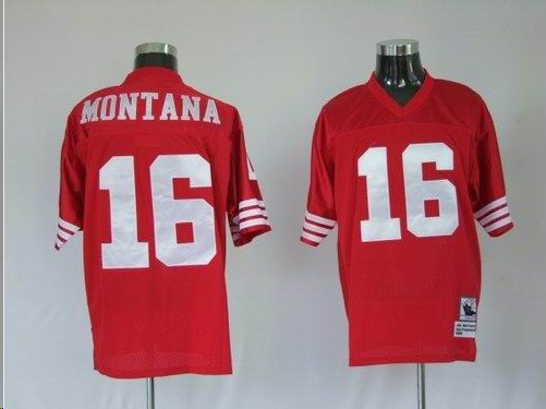 49ers 16 Montana Red Throwback Jerseys