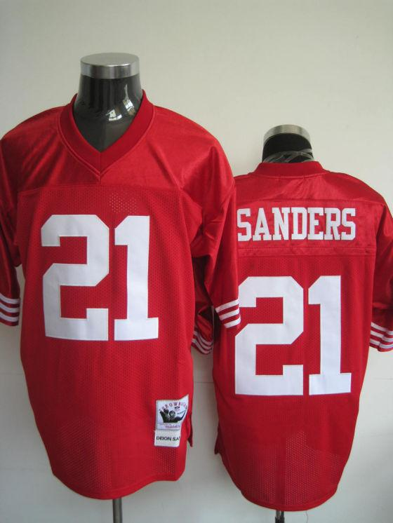 49ers 21 Sanders Red Throwback Jerseys