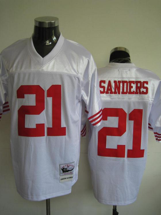 49ers 21 Sanders White Throwback Jerseys