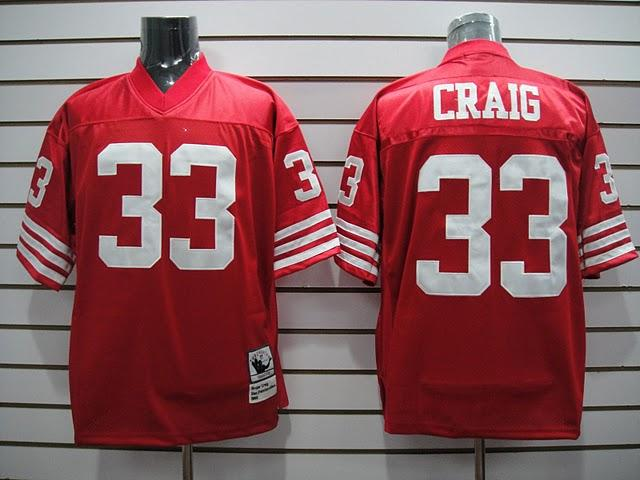49ers 33 Craig Red Throwback Jerseys