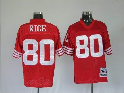 49ers 80 Rice Red Throwback Jerseys