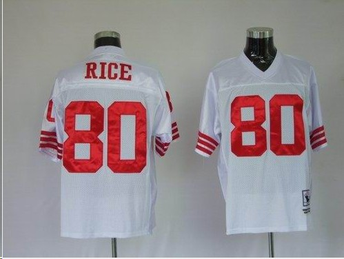 49ers 80 Rice White Throwback Jerseys