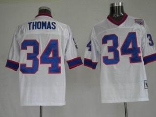 Bills 34 Thurman Thomas White Throwback Jerseys