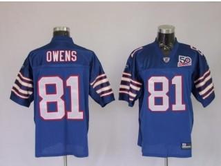 Bills 81 Terrell Owens Light Blue AFL 50th Anniversary Jerseys