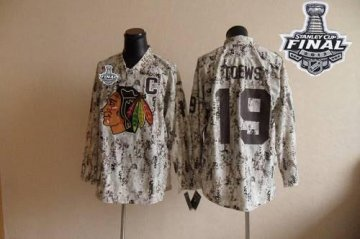 Blackhawks 19 Jonathan Toews Camouflage With 2013 Stanley Cup Finals Jerseys