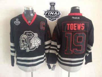 Blackhawks 19 Toews Black Ice 2013 Stanley Cup Finals Skull Logo Fashion Jerseys
