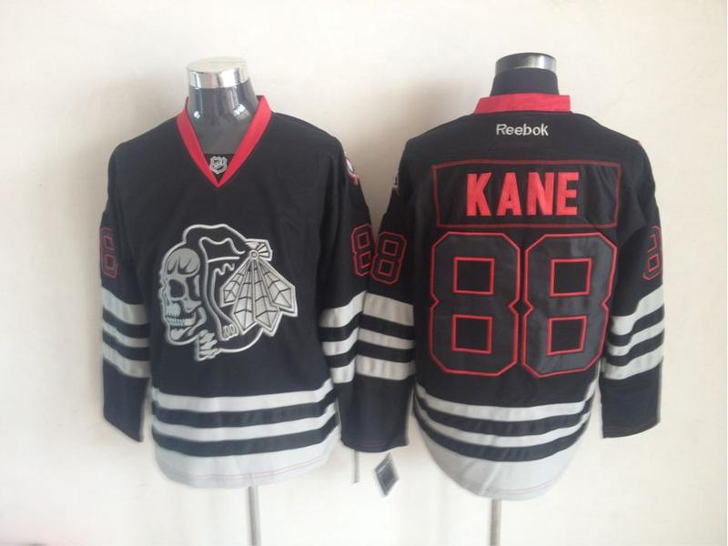 Blackhawks 88 Kane Black CrossBones Jerseys