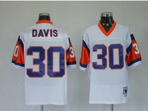 Broncos 30 Terrell Davis Premier White Throwback Jerseys