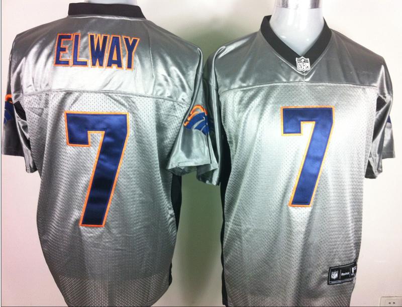 Broncos 7 Elway Grey Jerseys