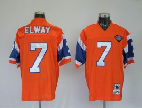 Broncos 7 John Elway Orange Throwback Jerseys